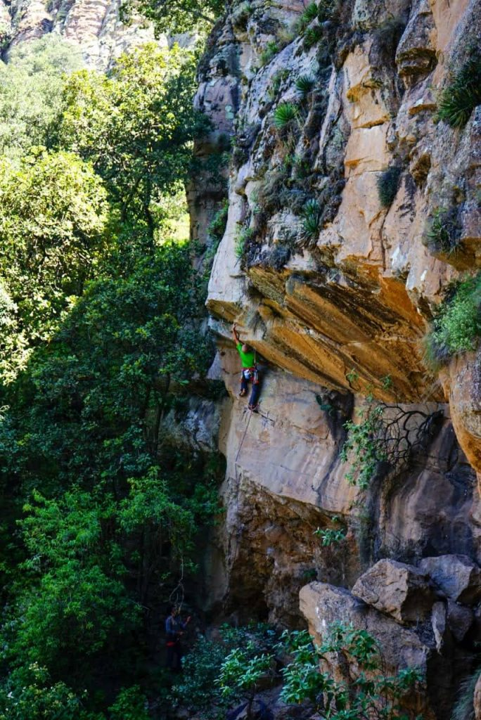 Climber on an overhanging route in Mexico